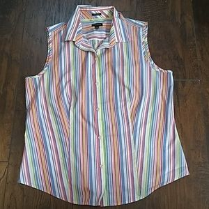 Talbots Colorful Stripe Button Down Top